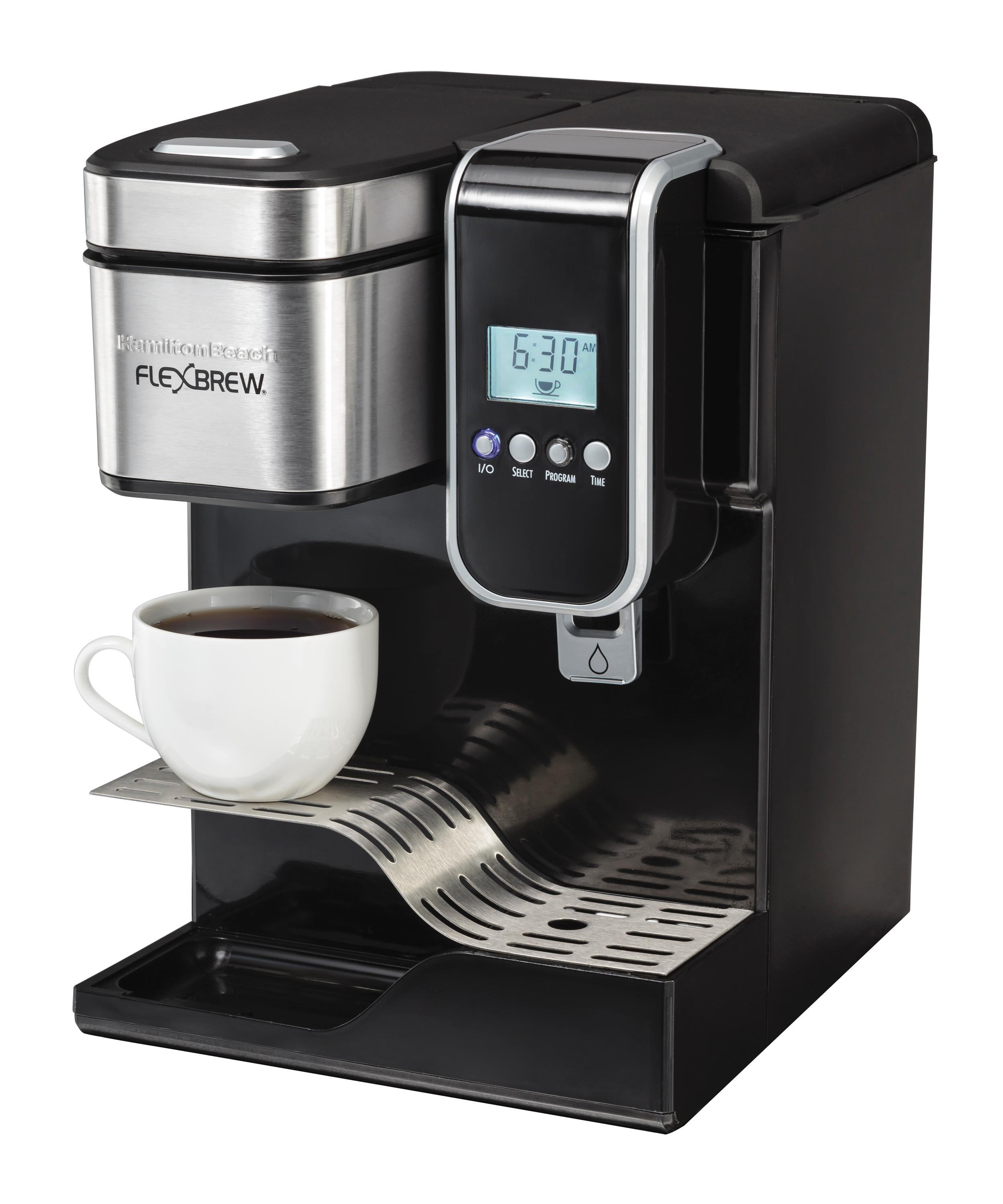 Amazon.com: Hamilton Beach Single-Serve Coffee Maker, Programmable FlexBrew with Hot Water ...