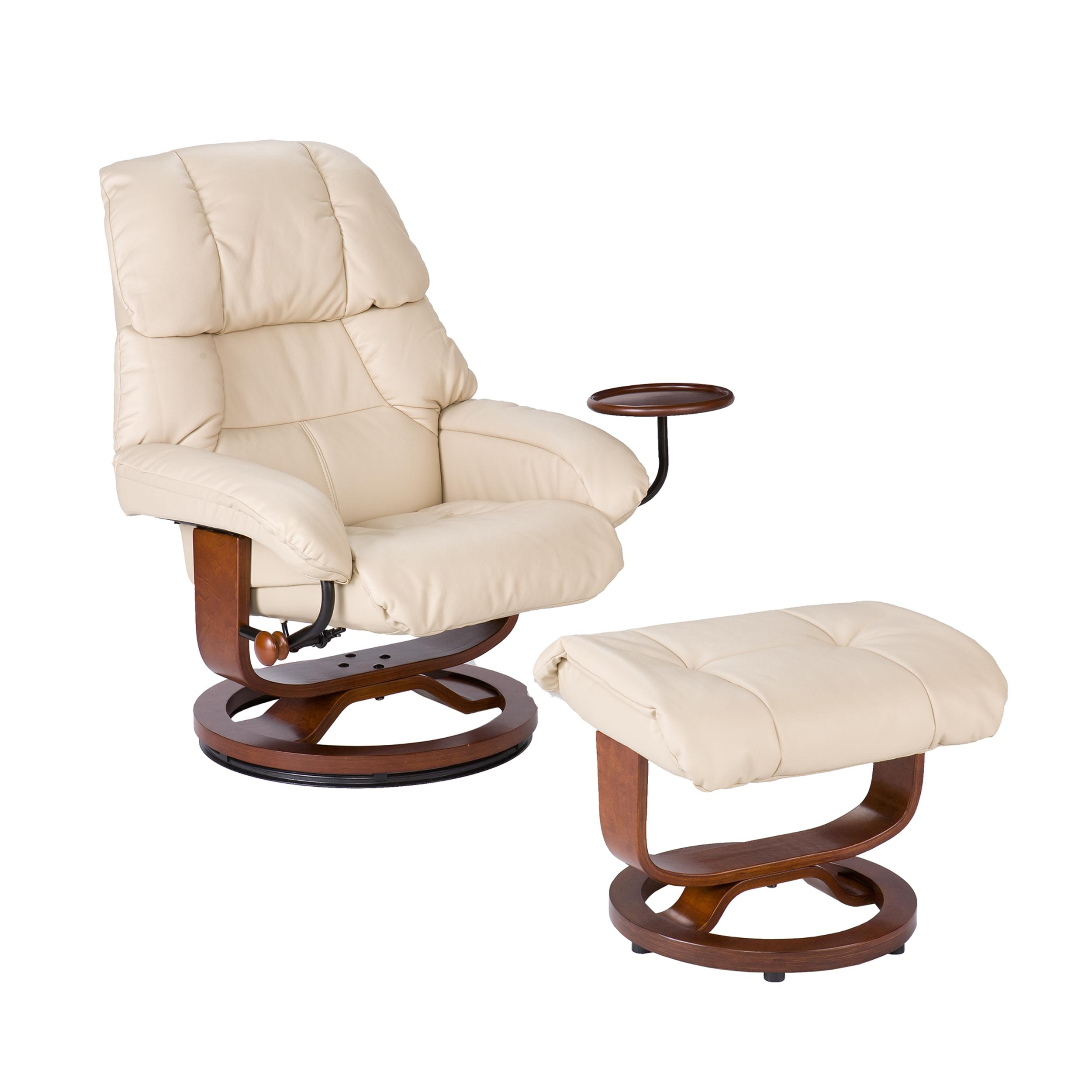 southern enterprises high back leather recliner and ottoman taupe