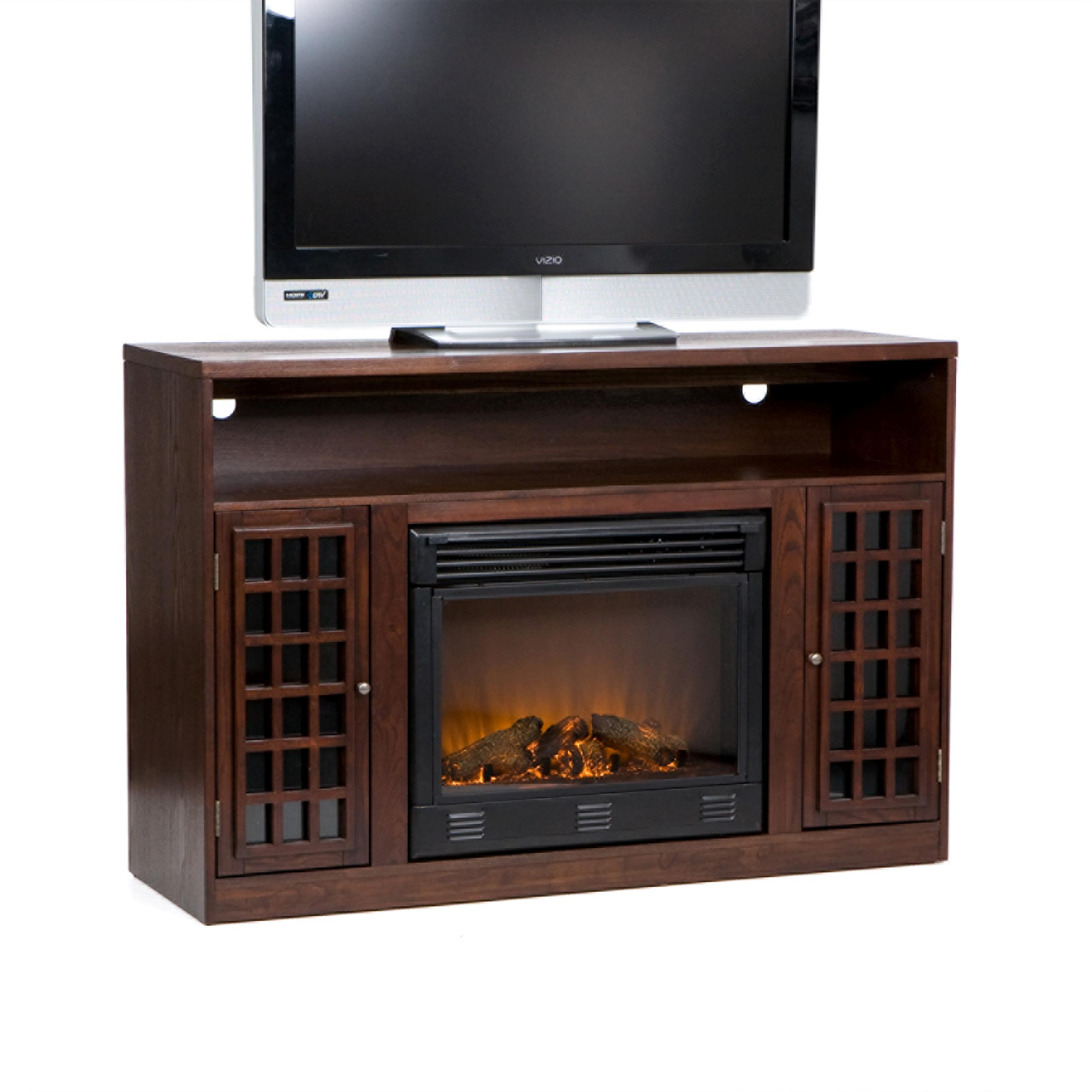 sei narita media console with electric fireplace espresso