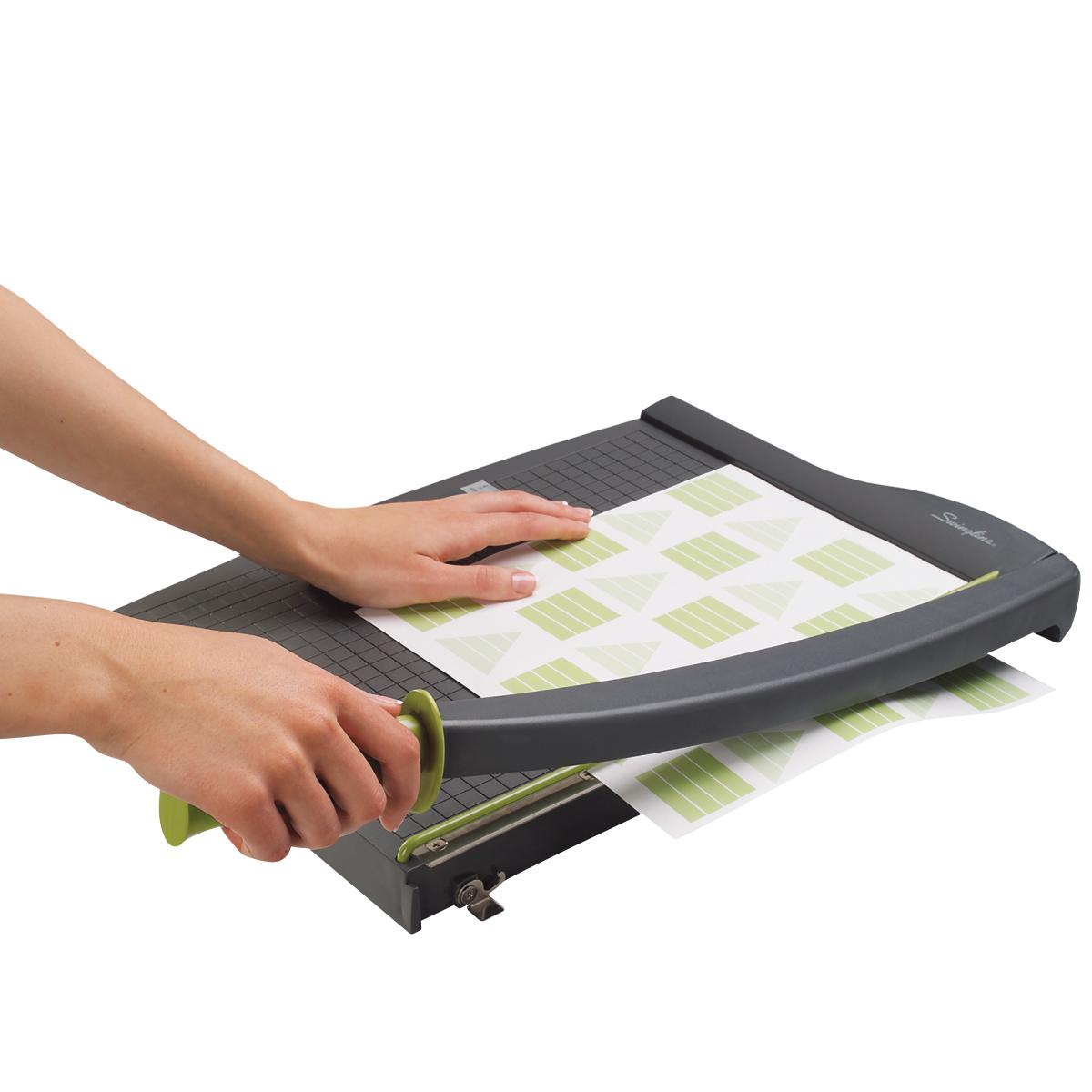 guillotine paper trimmer Description & features+ swingline 93121 guillotine paper trimmer - cuts 10  sheet - 305mm cutting length - plastic, steel blade - gray.