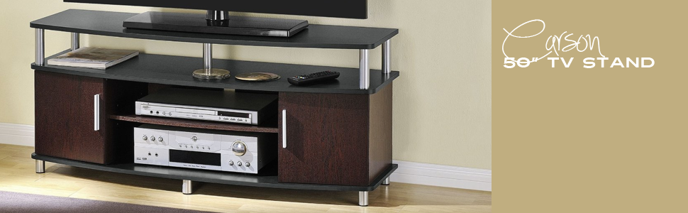 Amazon Com Altra Furniture Carson Tv Stand For Tv S Up To 50 Inches Black Cherry Audio