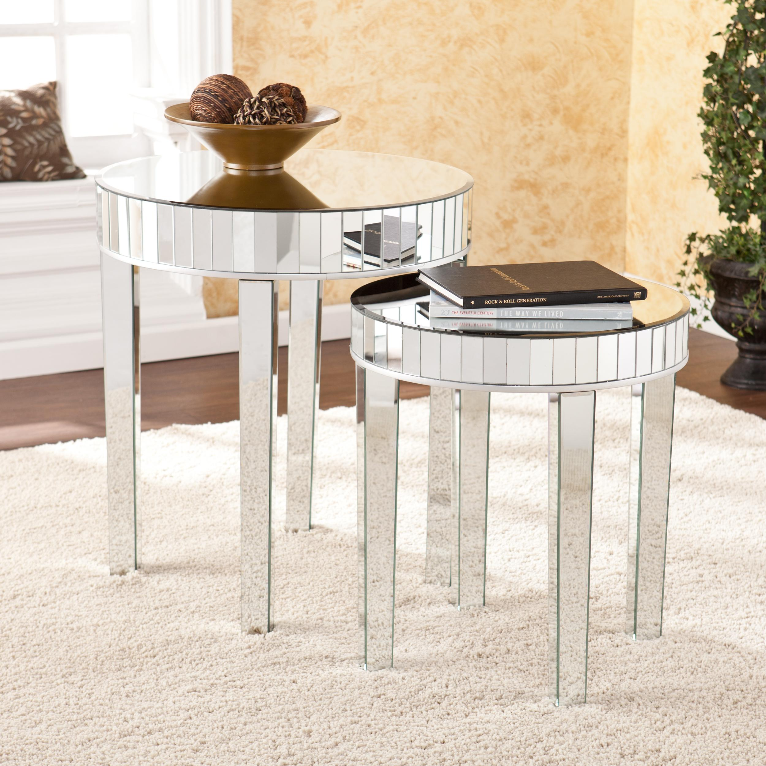 Marvelous photograph of Southern Enterprises 2 Piece Jennings Round Mirrored Nesting Table Set with #9F702C color and 2500x2500 pixels