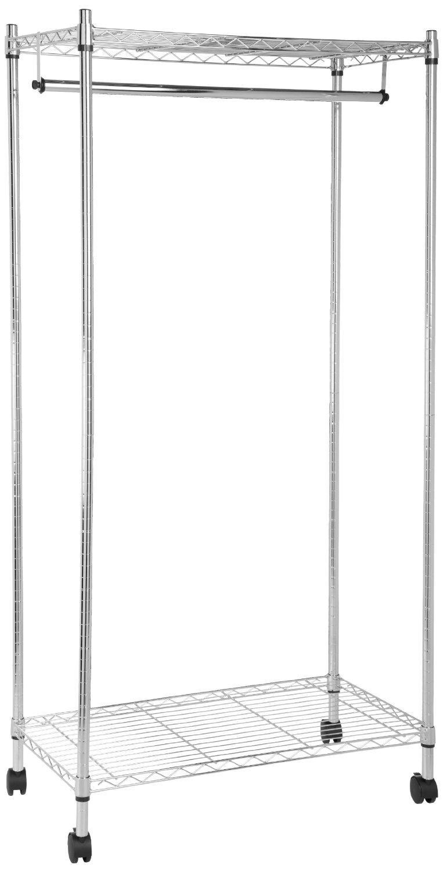 Amazon Com Amazonbasics Garment Rack With Top And Bottom Shelves Chrome