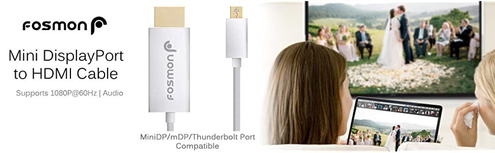 mini displayport to hdmi cable adapter thunderbolt minidp mdp port 4k resolution high speed apple