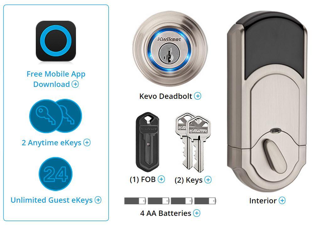 Kwikset Kevo Smart Lock With Keyless Bluetooth Touch To Open Convenience In Satin Nickel Door