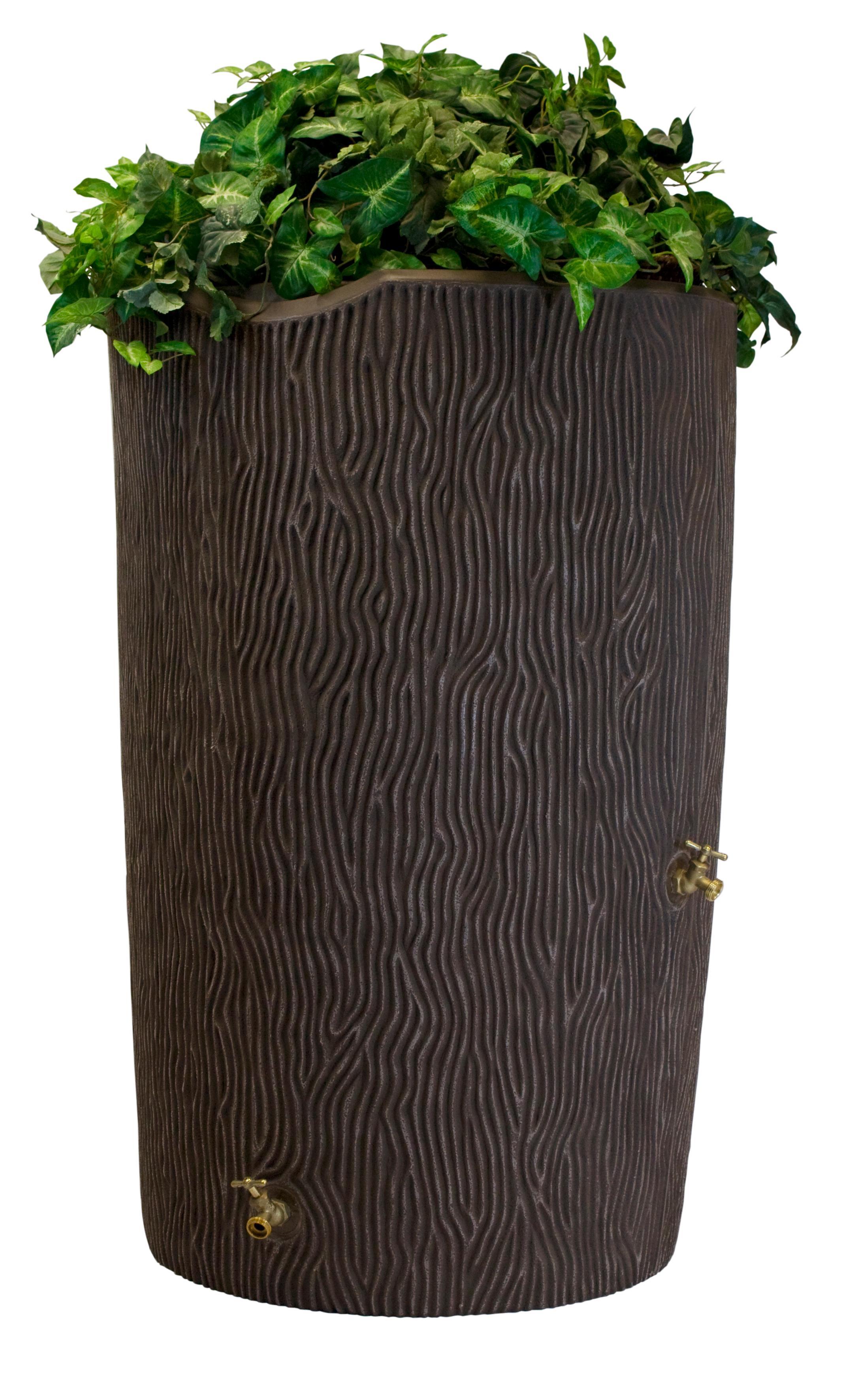 Ideas IMP-C90-OAK Impressions Tree Bark Rain Barrel, 90-Gallon, Oak