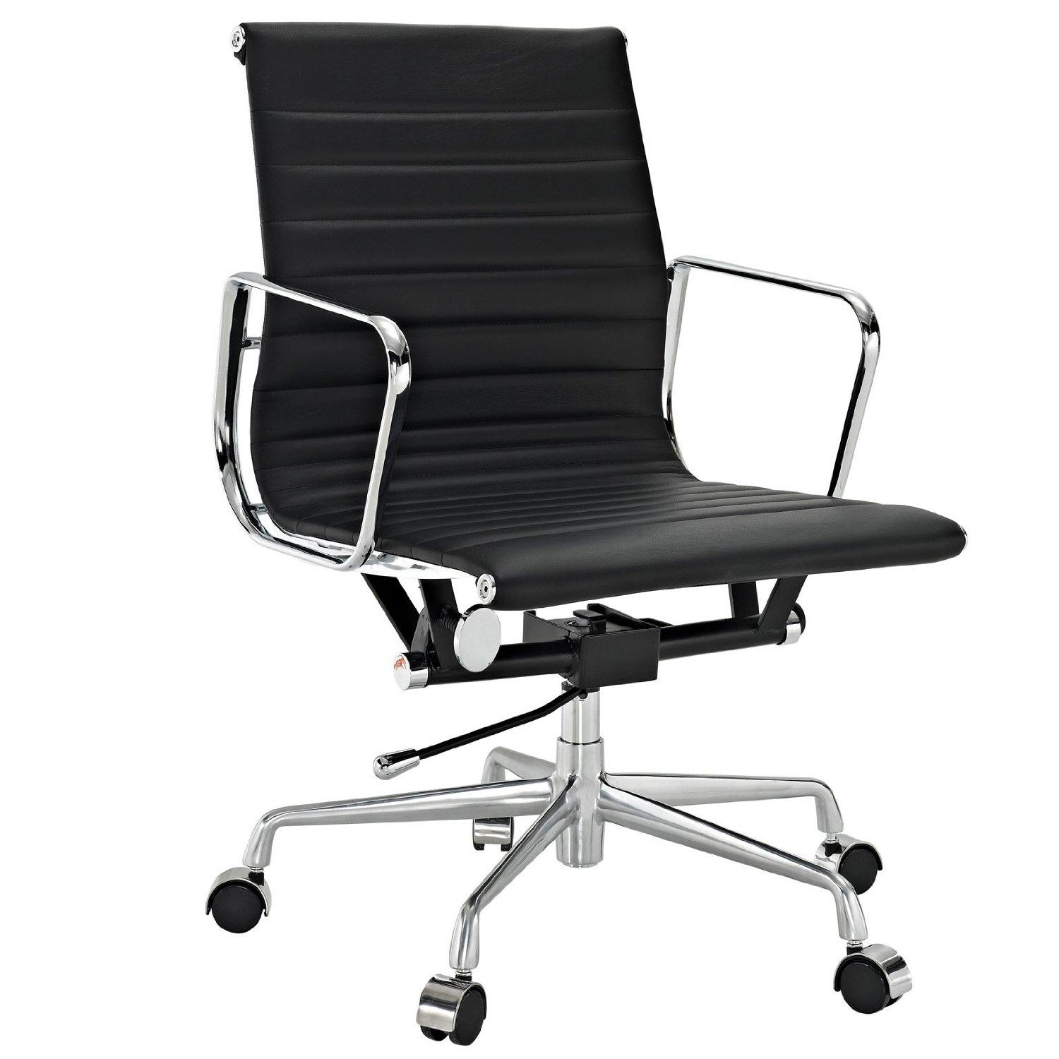 Ribbed Mid Back Office Chair In Black Genuine Leather Desk Chairs