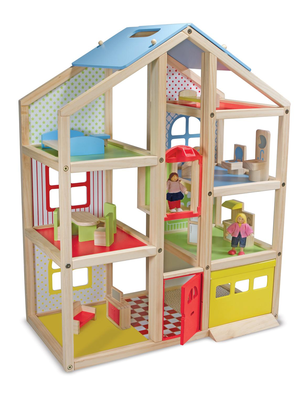 Amazon Com Melissa Amp Doug Hi Rise Dollhouse And Furniture Set Melissa Amp Doug Toys