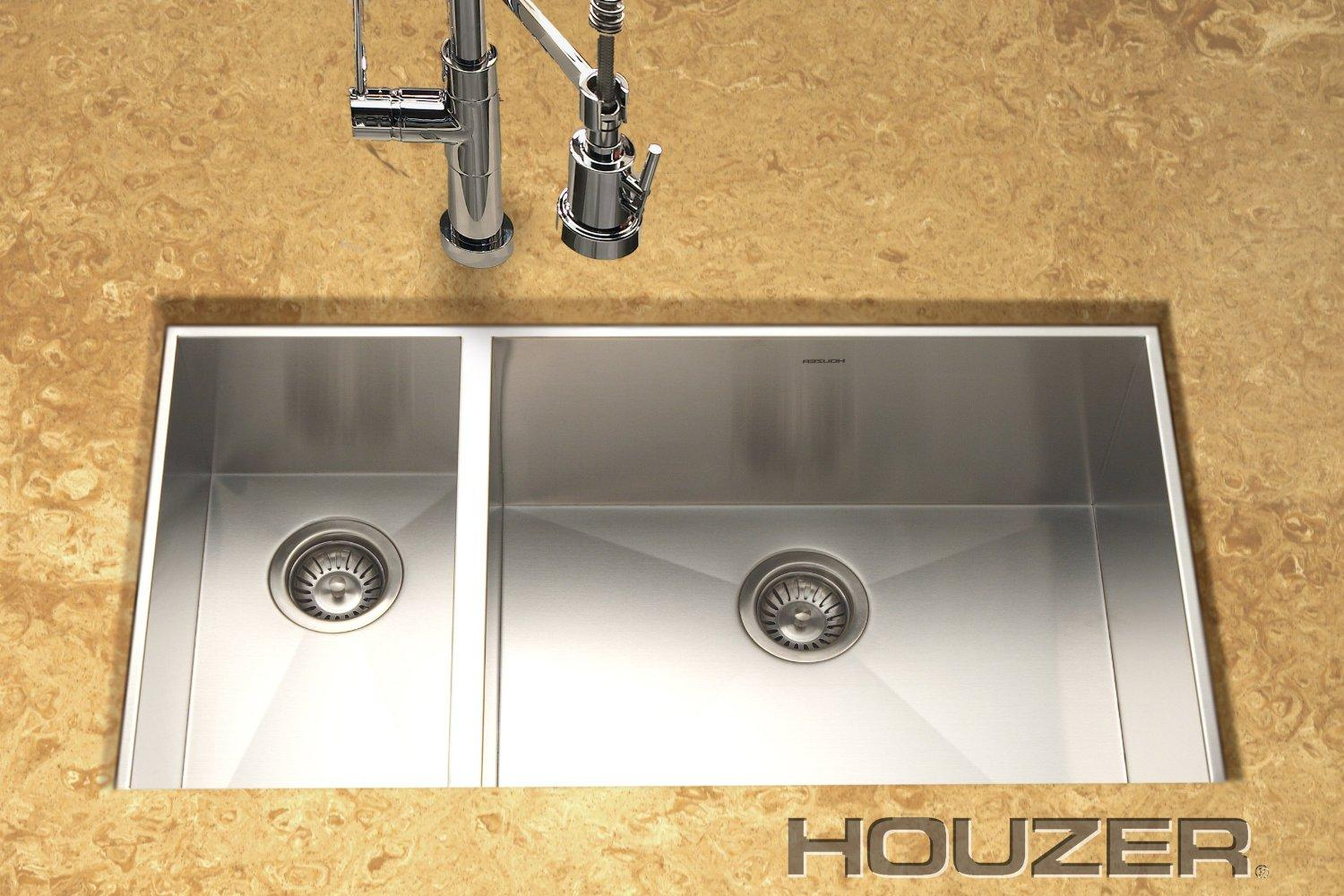 Houzer Sinks : ... Sink, Prep bowl left - Brushed Stainless Undermount Sinks - Amazon.com