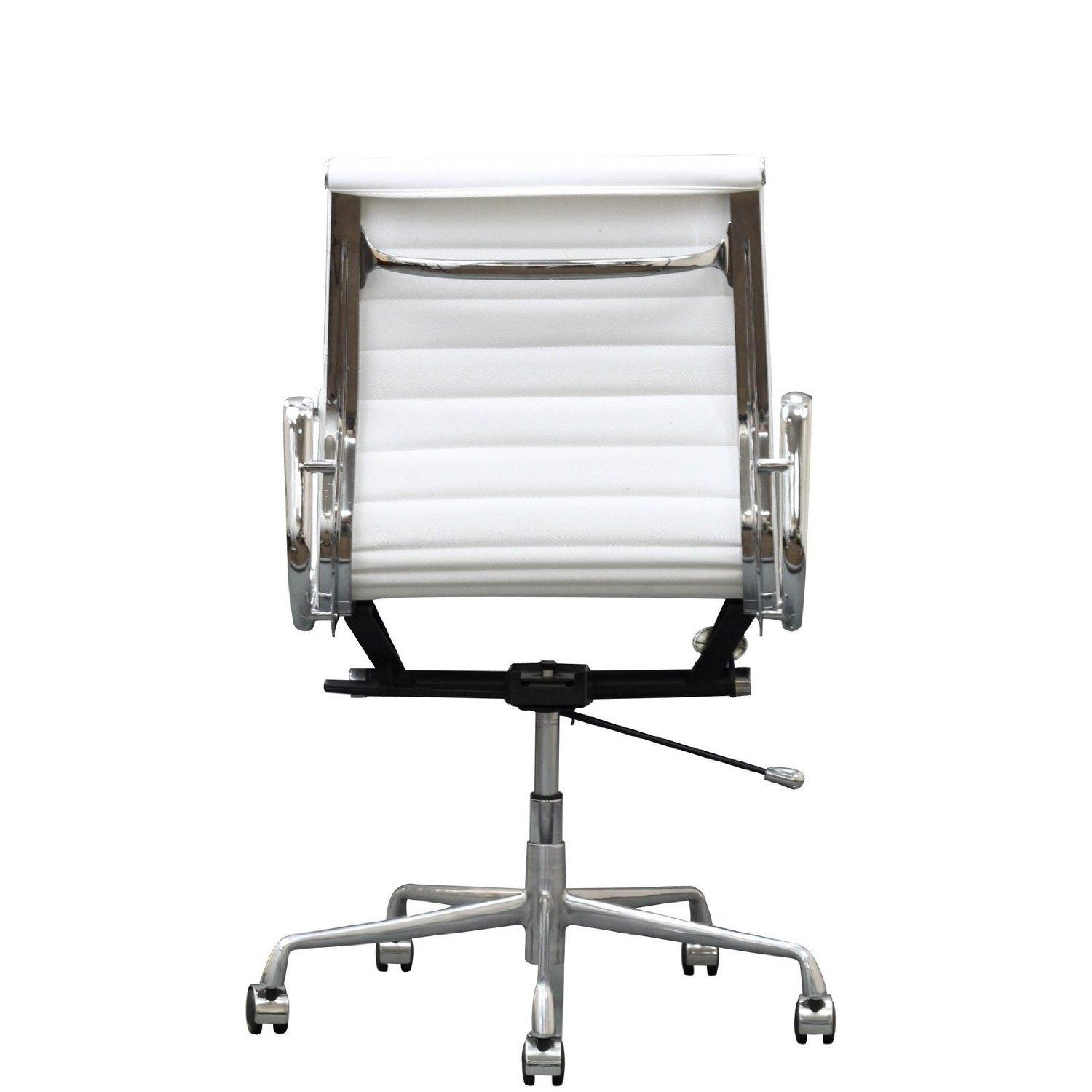 ribbed mid back office chair in white genuine