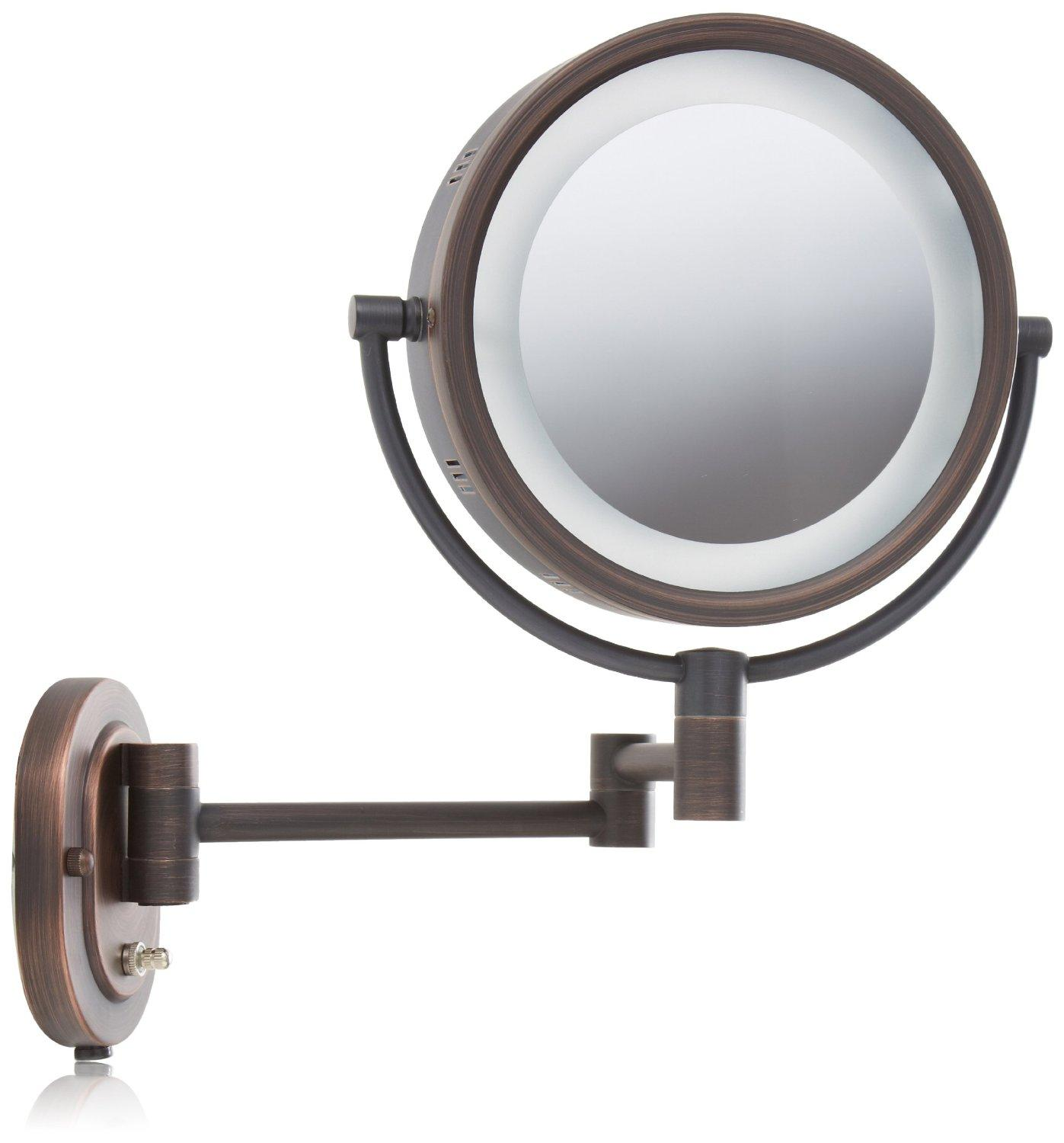 Amazon.com : Jerdon HL65BZ 8-Inch Lighted Wall Mount Makeup Mirror with 5x Magnification, Bronze ...