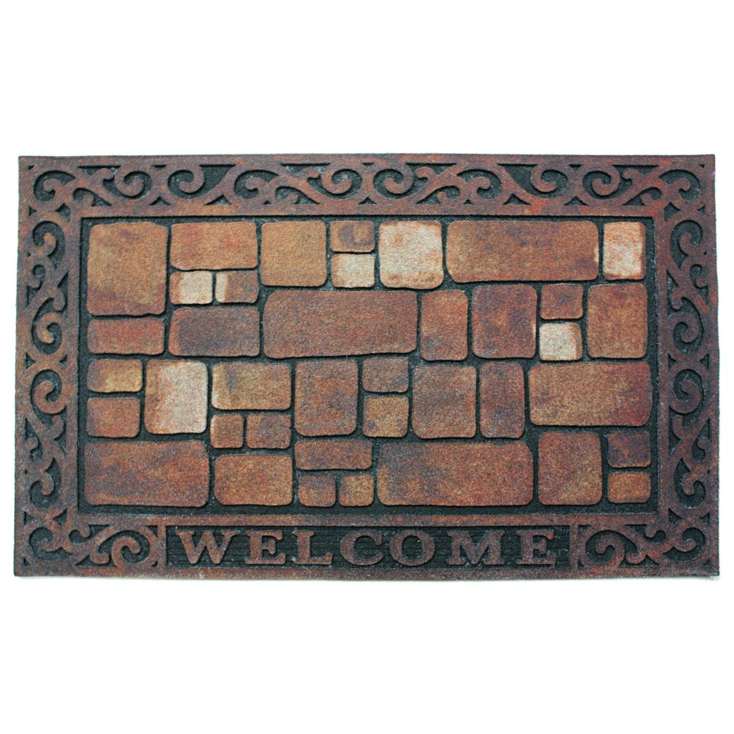 J m home fashions welcome stones printed for Door mats amazon