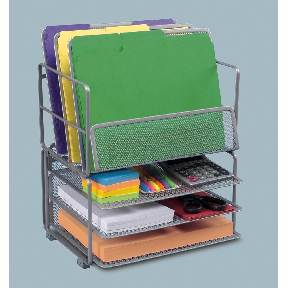 seville classics office desk organizer platinum mesh 6 trays home kitchen