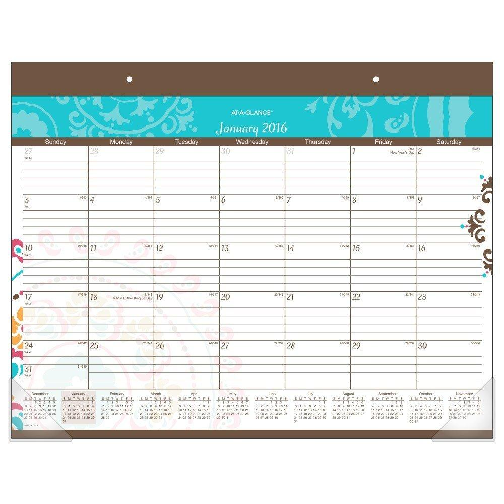 At A Glance Desk Pad Suzani Desk Pad Monthly Calendar