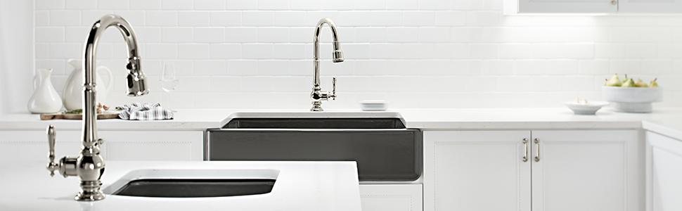 Kohler Kitchen Faucet Warranty : Kohler k cp artifacts single hole kitchen sink faucet with inch pull down spout