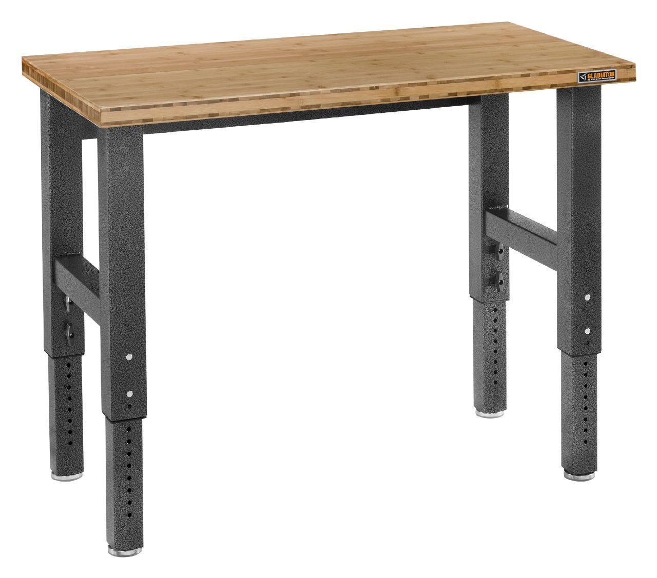 4 Ft Hardwood Top Adjustable Height Workbench In Hammered Granite Gladiator 4 Ft Hardwood Top