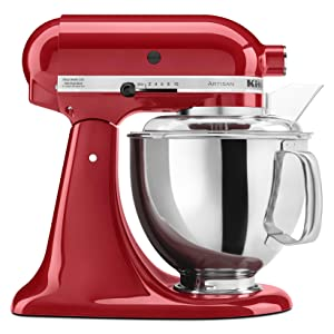 kitchenaid ksm150pswh artisan series 5 qt stand mixer with pouring