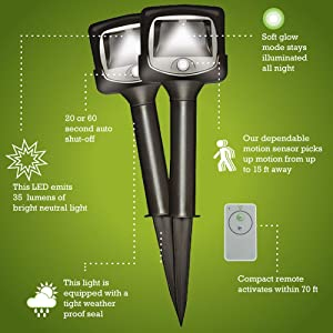 mr. beams remote controlled path lights, wireless led path lights, motion sensing path lights