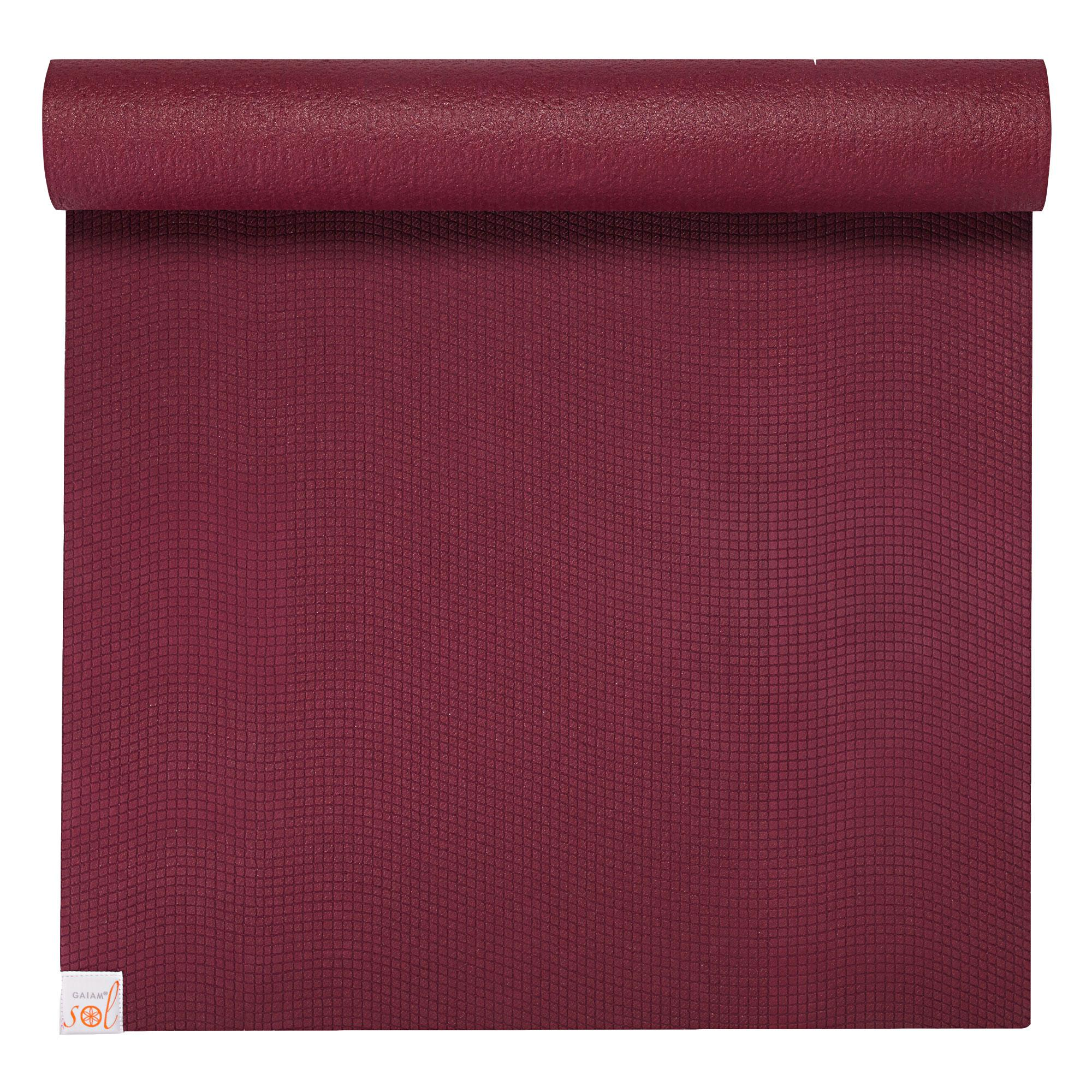 Amazon Com Gaiam Sol Sure Grip Yoga Mat Cranberry 4mm
