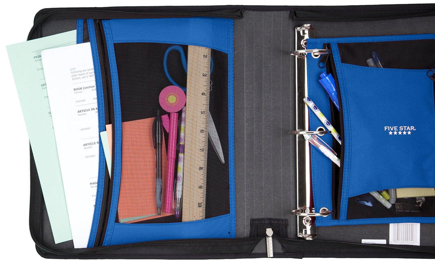 Five star 2 zipper binder removable pencil pouch included xpanz gray 73780 for Trapper keeper 2 sewn binder with exterior storage