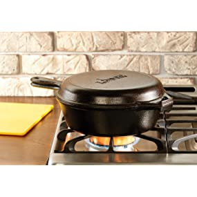 combo cooker, deep skillet, frying pan, dutch oven, skillet, griddle