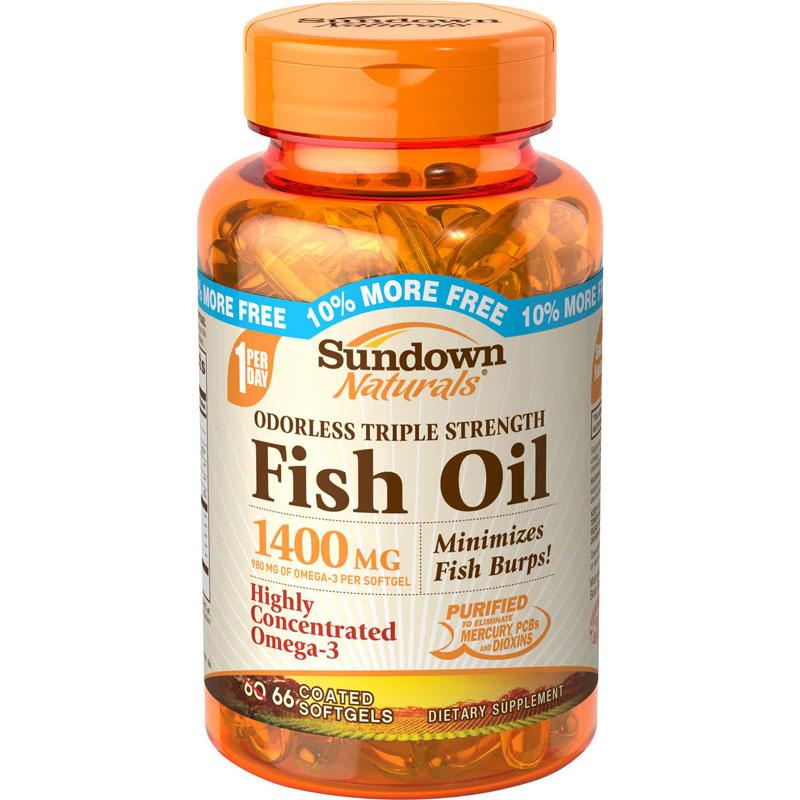 Sundown triple strength odorless fish oil 1400 for Odorless fish oil