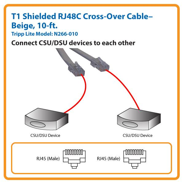 amazon com tripp lite t1 shielded rj48c cross over cable