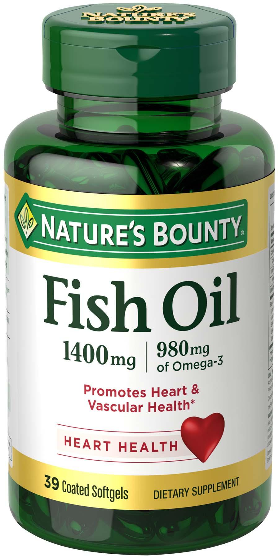 Nature 39 s bounty fish oil 1400 mg triple for How much fish oil a day