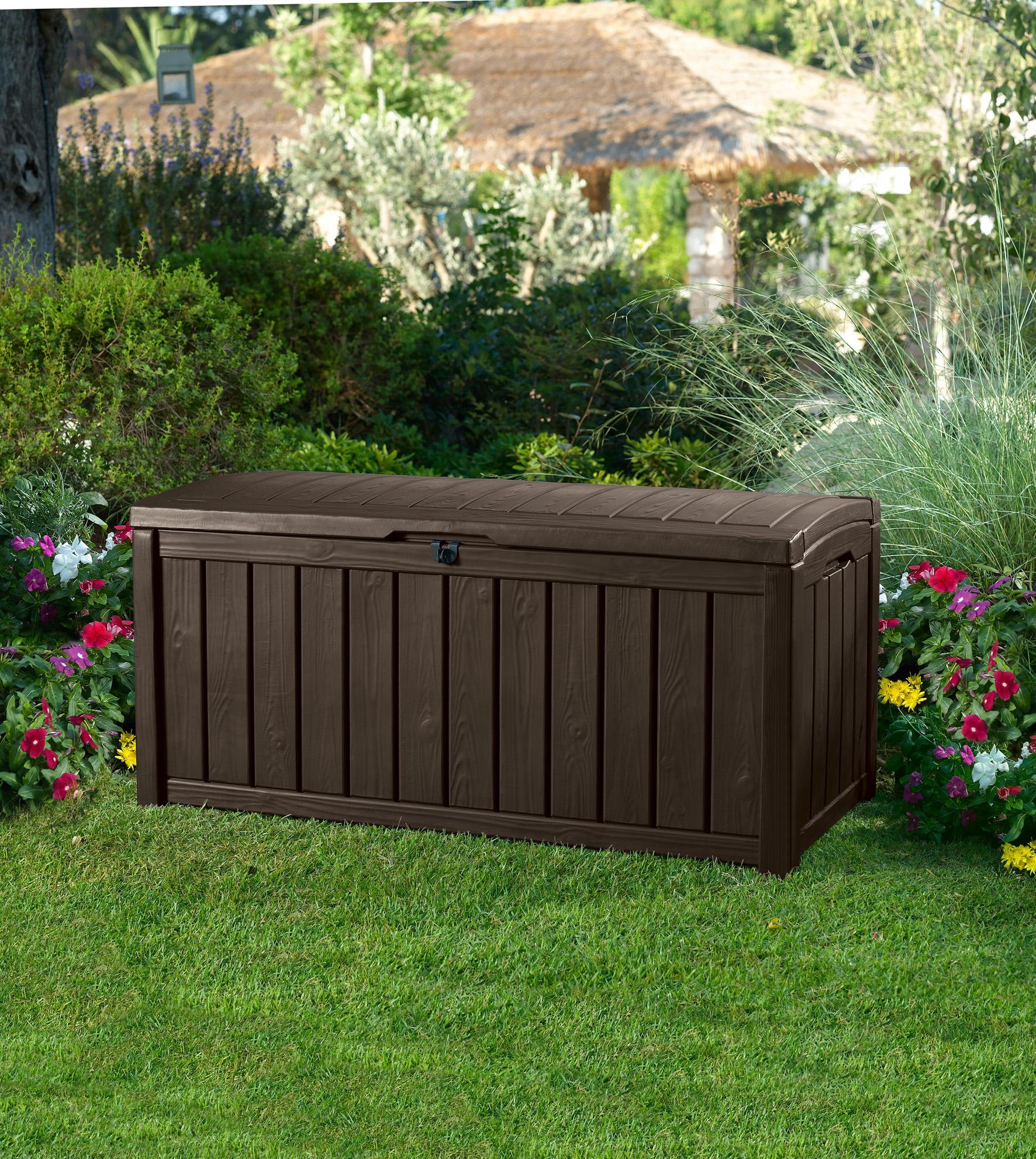 Keter Glenwood Plastic Deck Storage Container Box Outdoor Patio