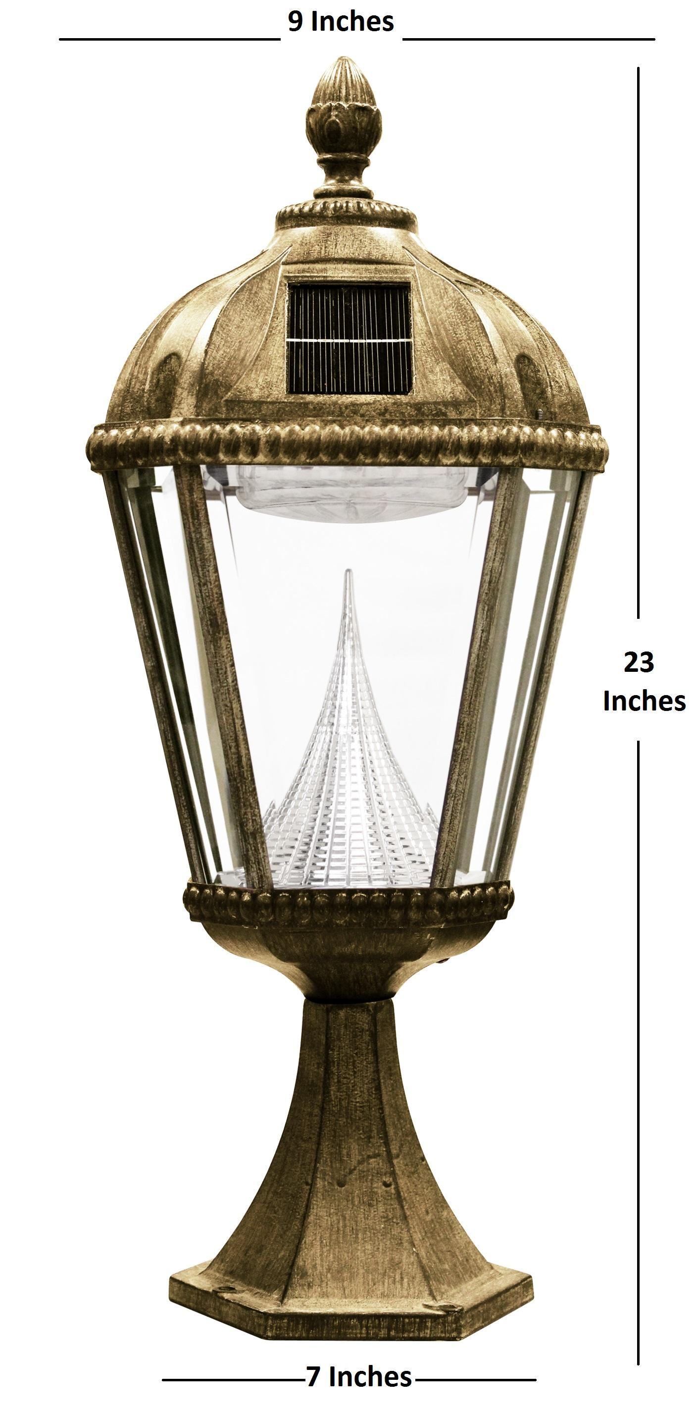 Gama Sonic Royal Solar Outdoor LED Light Fixture, Pier Base for Flat