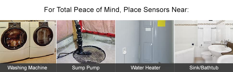 For a total peace of mind, place water sensor near