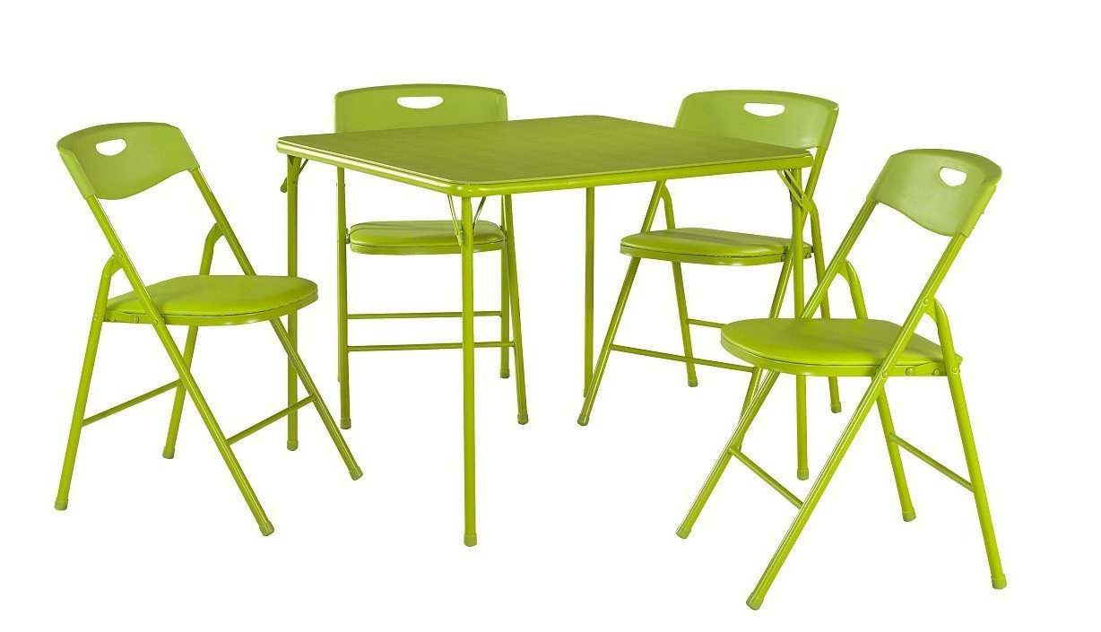 cosco products 5 piece folding table and chair set black kitchen dining. Black Bedroom Furniture Sets. Home Design Ideas
