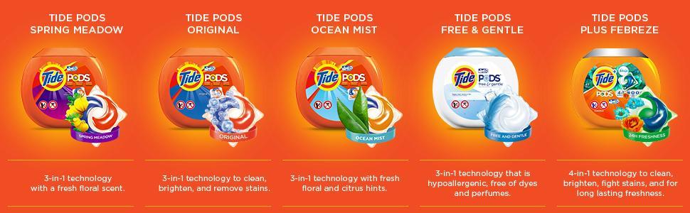 pods; pacs; laundry pacs; tide laundry detergent; tide laundry pacs; tide pods scents