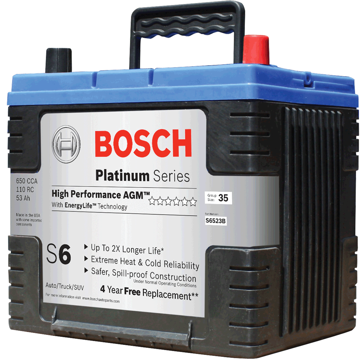 bosch s6585b s6 flat plate agm battery automotive. Black Bedroom Furniture Sets. Home Design Ideas