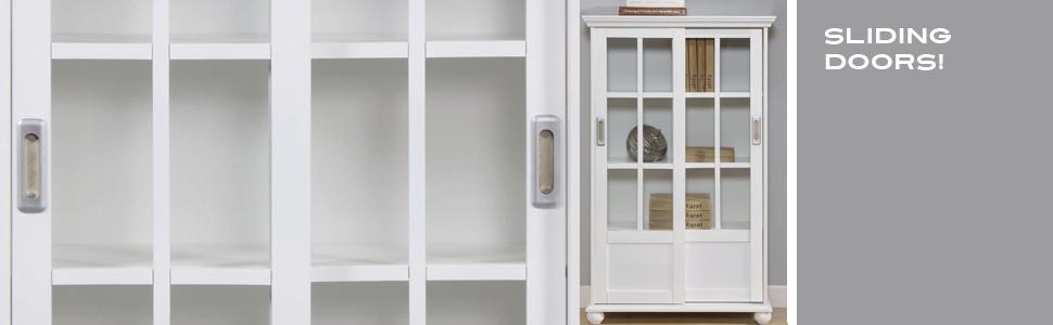 shelves with sliding doors