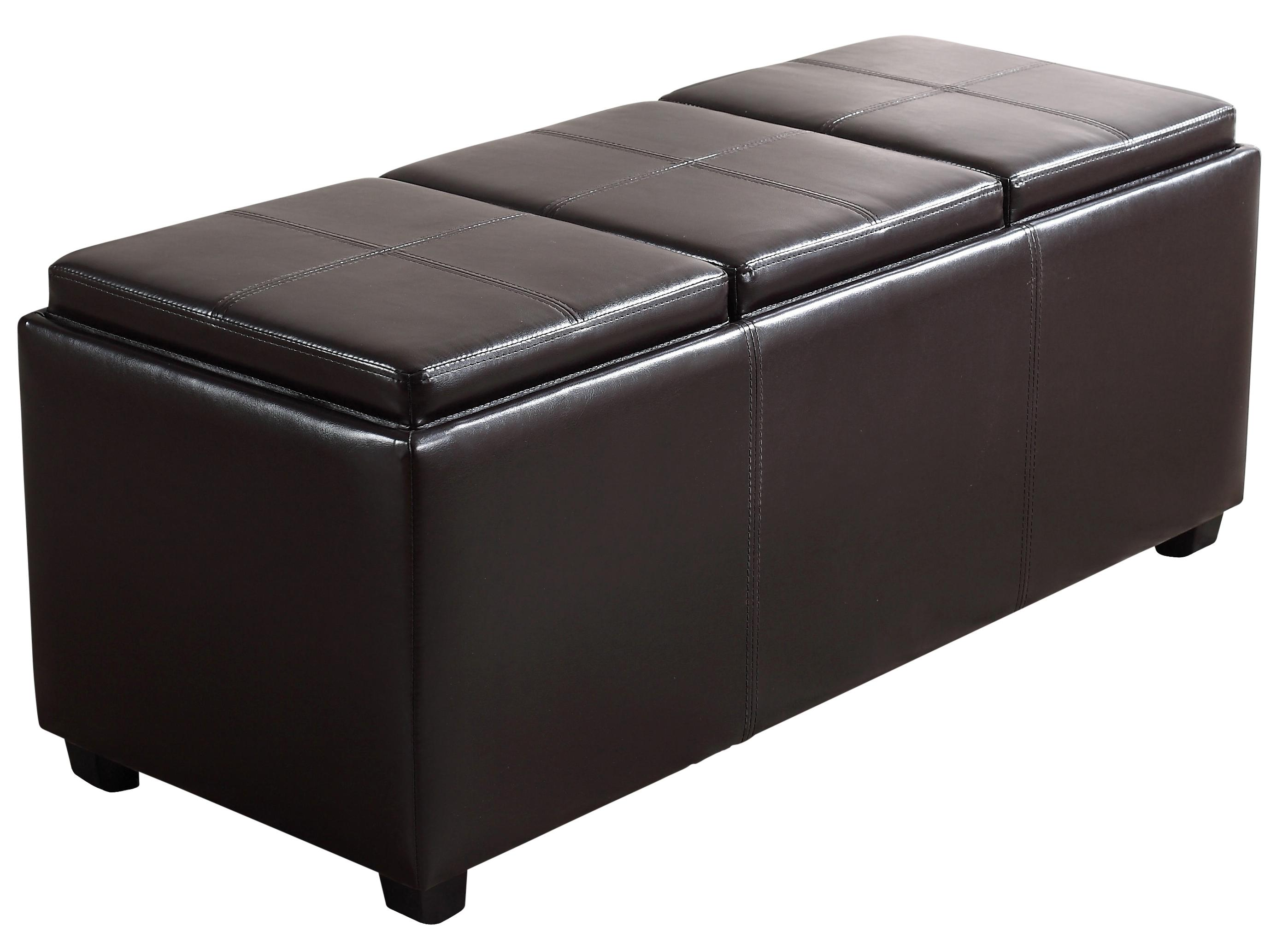 simpli home avalon faux leather rectangular storage ottoman with 3 serving trays. Black Bedroom Furniture Sets. Home Design Ideas