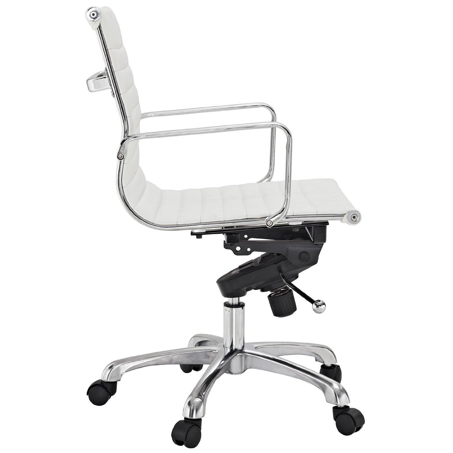 Lexmod Ribbed Mid Back Chair In White Vinyl