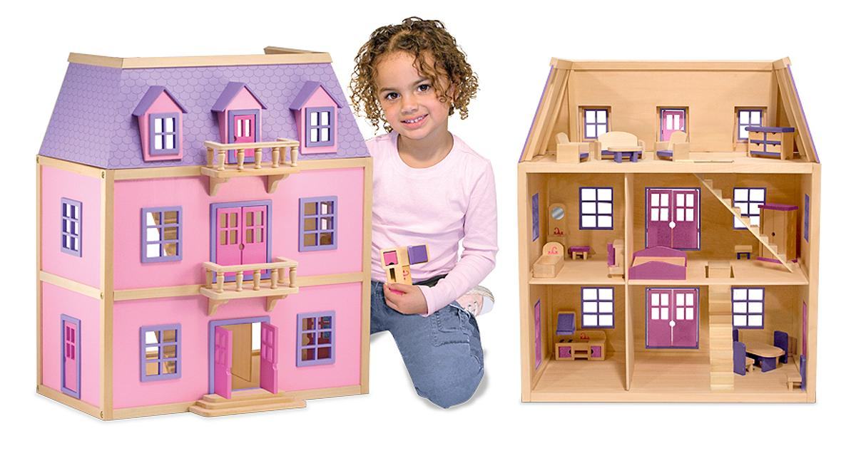 Amazon.com: Melissa & Doug Multi-Level Wooden Dollhouse: Melissa ...
