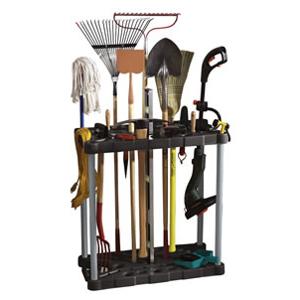 lawn tool storage tower rack casters 40 tools rakes shovels weed eater garage ebay. Black Bedroom Furniture Sets. Home Design Ideas