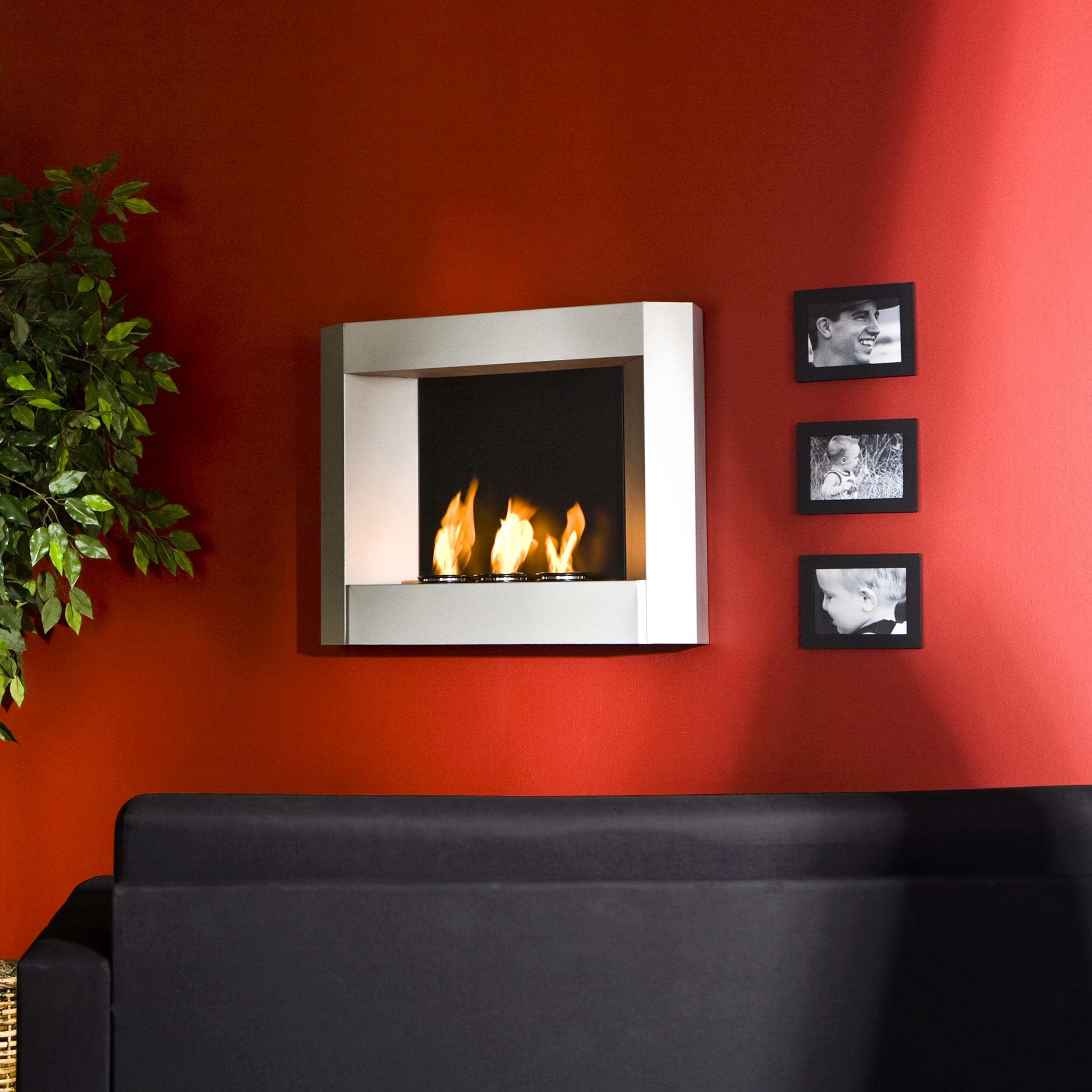SEI Contemporary Wall Mount Gel Fuel Fireplace Silver Kitchen