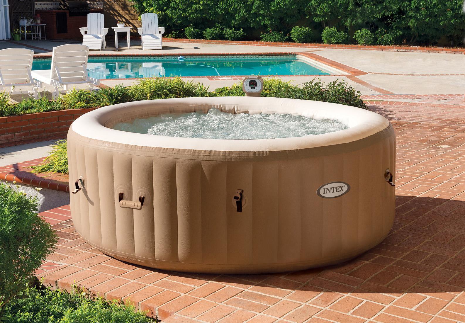 intex 77in purespa portable bubble massage spa set patio lawn garden. Black Bedroom Furniture Sets. Home Design Ideas