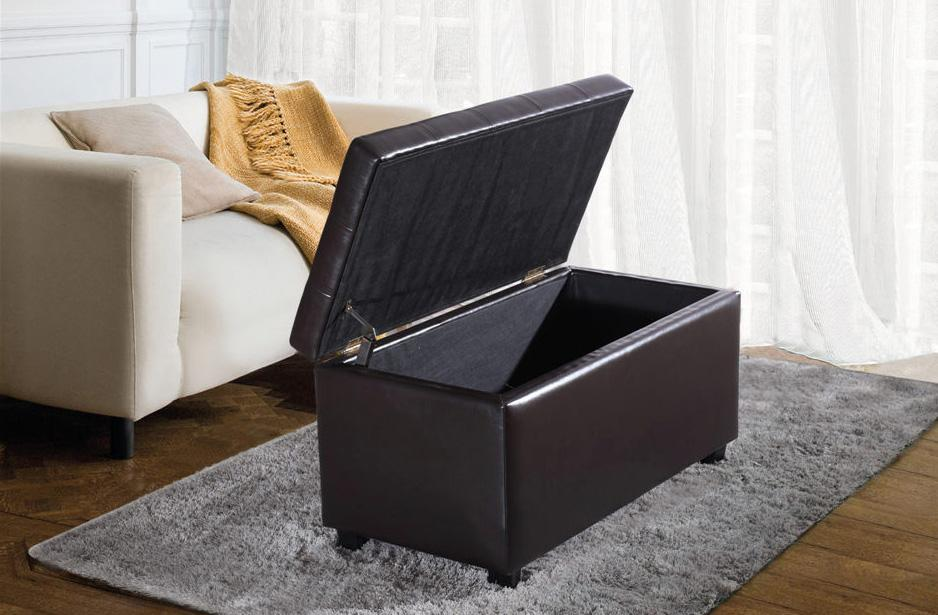 Leather Storage Ottoman Bench Foot Stool Tufted Seat Coffee Table Rectangular Ebay
