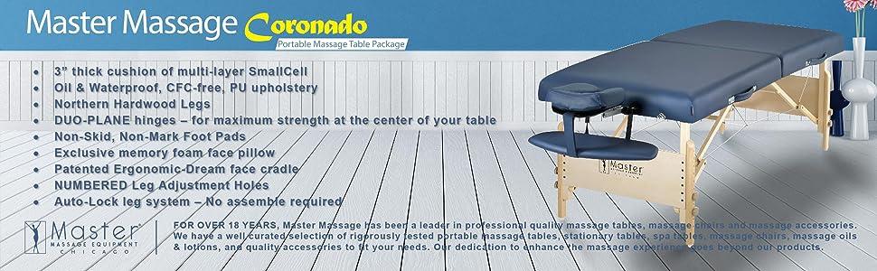 Master Massage Wooden Portable Massage Table Package Coronado