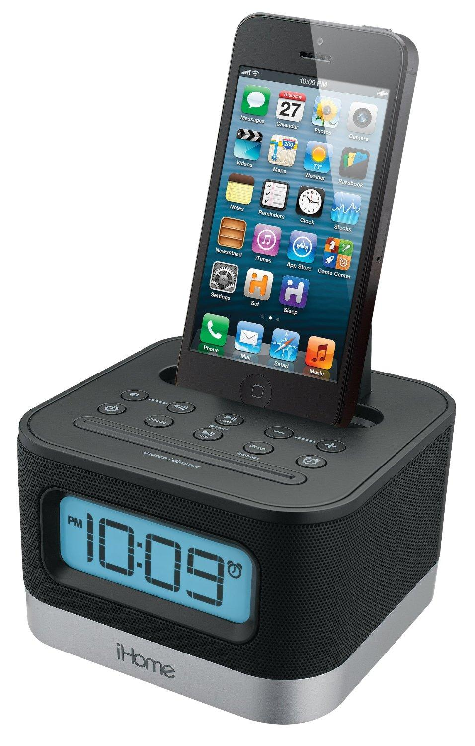 ihome ipl8bn stereo fm clock radio with lightning dock for iphone 5 5s and 6 6plus. Black Bedroom Furniture Sets. Home Design Ideas