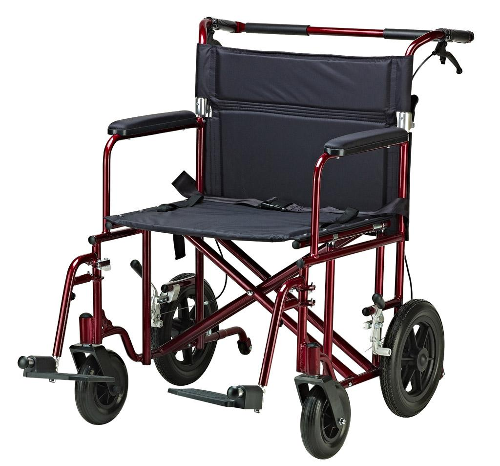 Drive medical bariatric transport chair with 12 inches rear flat free
