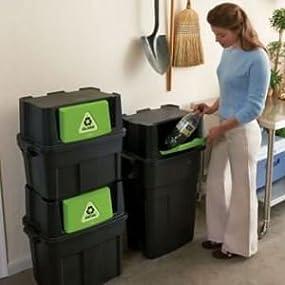 Amazon Com Rubbermaid Stackable Recycling Bin 30 Gallon