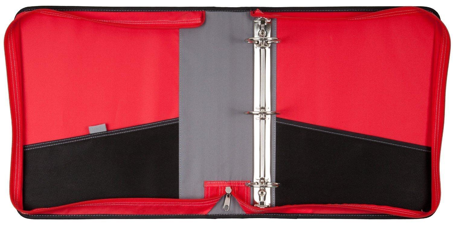 Mead 2 zipper binder with handle includes interior and exterior pockets red for Trapper keeper 2 sewn binder with exterior storage