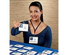 Clip, name badge, garment friendly, easy-to-load pocket style, white, micro-perforated, smooth edges