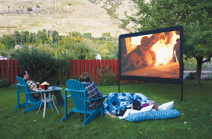Backyard Theater Ideas : Camp Chef 120Inch Portable Outdoor Movie Theater Screen