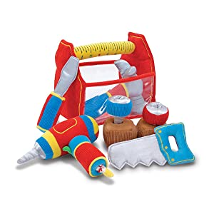saw, hammer, screwdriver, drill, soft toy, boy, builder, travel, take along, on the go, toddler